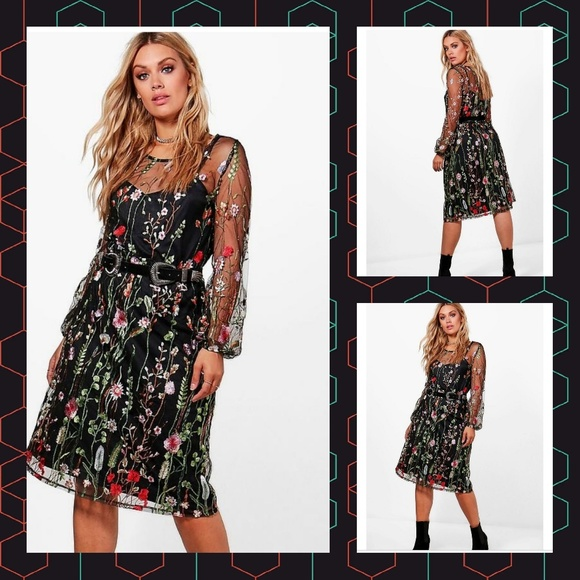 a2b460fc1a2c Boohoo Plus Dresses | Tilly Heavy Embroidered Midi Dress | Poshmark
